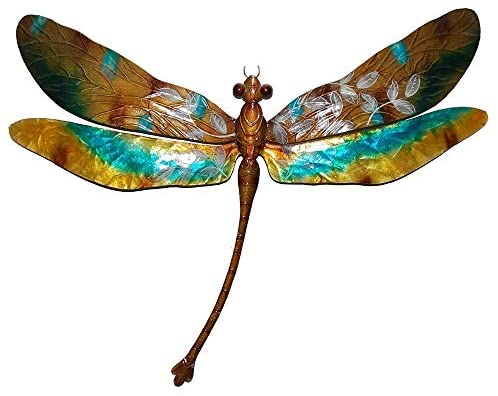 Handmade Gold Aqua Dragonfly Wall Decor (Philippines) 16 X 1 8 Blue Classic Modern Contemporary Metal Natural Finish