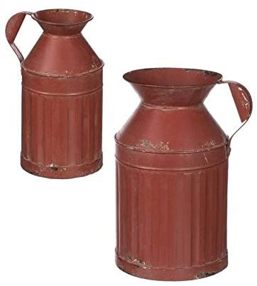 Rust Metal Watering Cans Red
