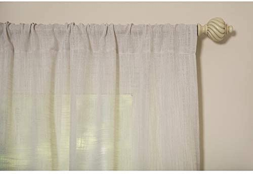 MISC Linen Look Sheer 84 Inch Rod Pocket Curtain Panel Natural Solid Polyester