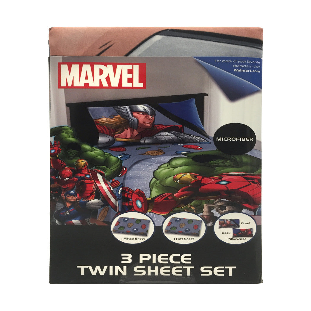 Kids Blue Avengers Sheet Set Twin Red Captain America Bedding Thor Spider Man Bed Sheets Superheroes Green Faces Masks Soft Comfortable - Diamond Home USA