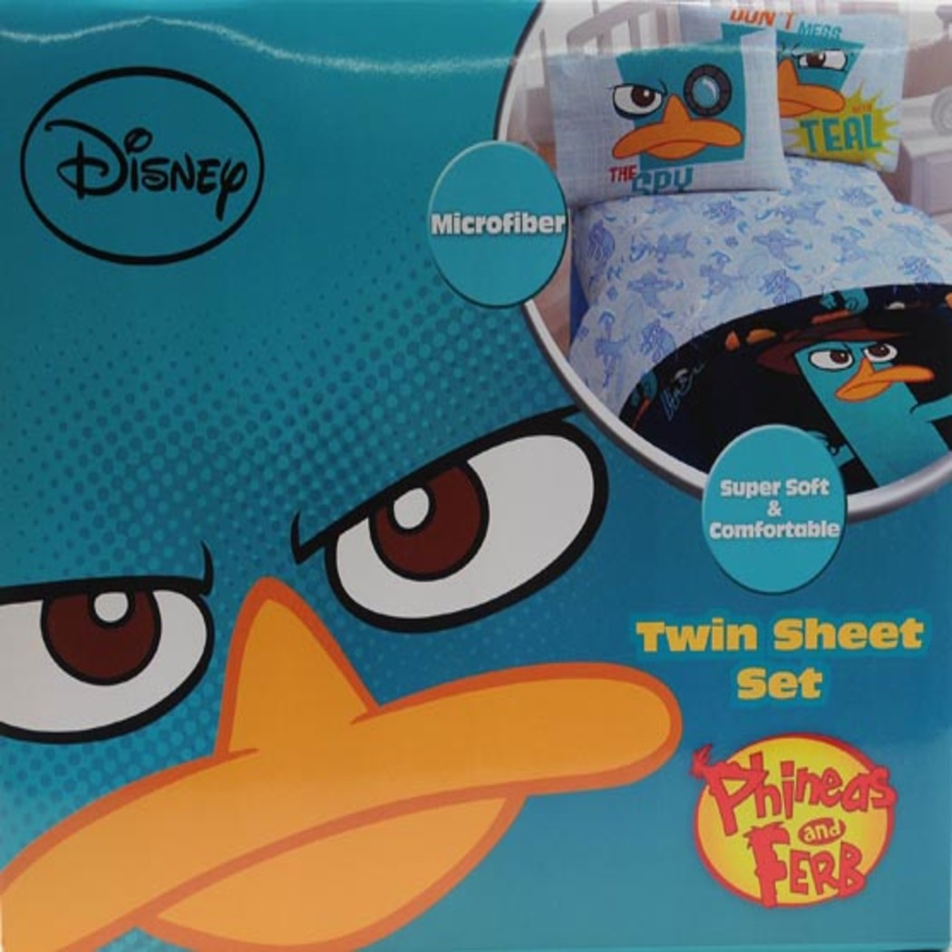 Kids Perry Sheet Set Platypus Bedding Age P Spy Bed Sheets Novelty Animated Series Soft Cozy Stylish Luxurious Elegant
