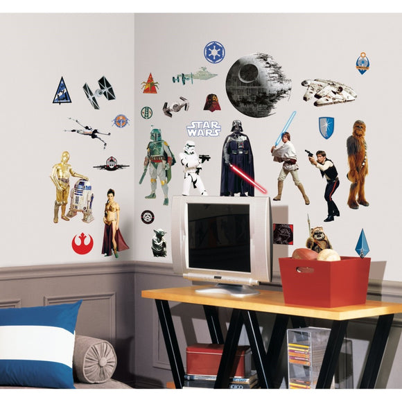 Kids Black White yellow Star Wars Wall Decals Set Movie Themed Wall Stickers Peel Stick Jedi Franchise Lightsaber Luke Skywalker Space Death Star Droid Decorative Graphic Mural Art Vinyl - Diamond Home USA