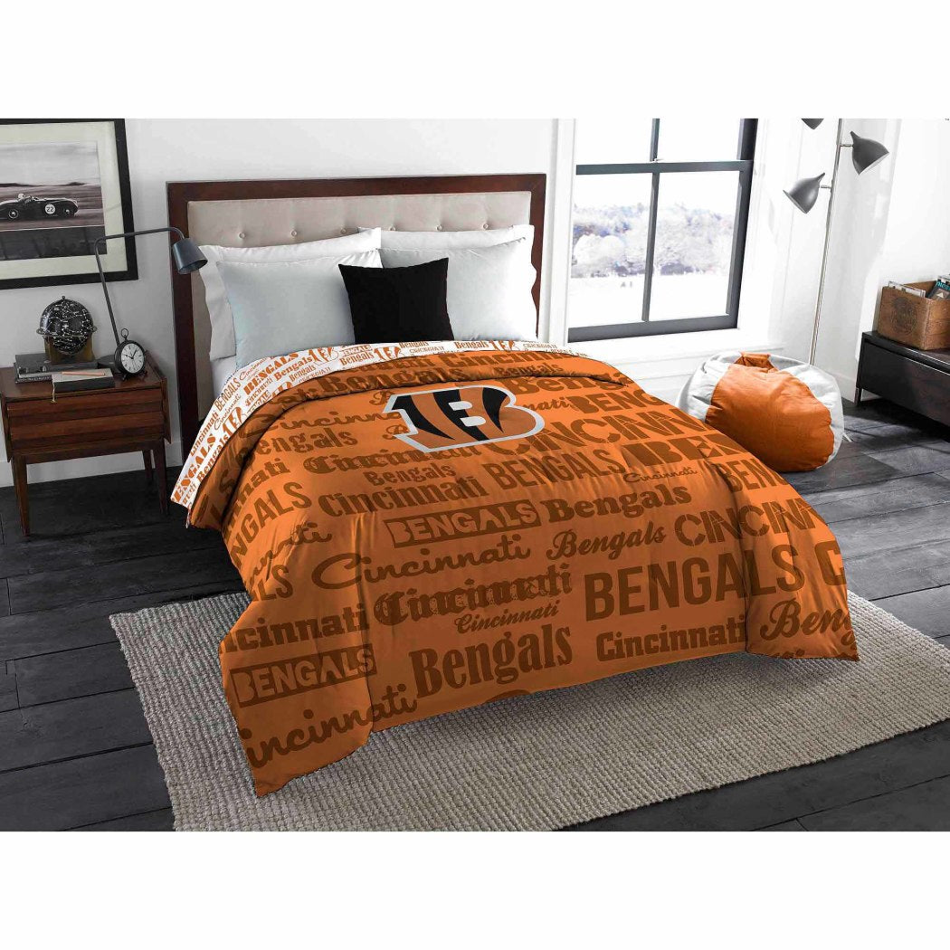 NFL Cincinnati Bengals Comforter Twin Sports Patterned Bedding Team Logo Fan Merchandise Team Spirit Football Themed National Football League Black