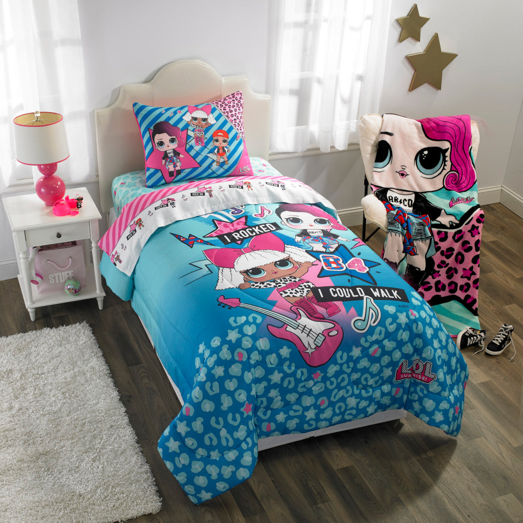 Kids Girls Pink Blue LOL Surprise Sheet Set Twin Sized Cute Rockers Bedding Dolls Pattern Little Outrageous Doll White Purple Polyester - Diamond Home USA