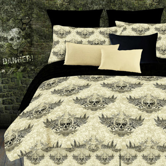 Off Graphic Goth Art Tattoo Themed Funky Comforter Set Winged Skull Face Design Skull Printed Kids
