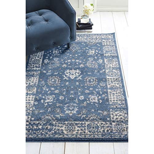 "Midnight Blue Runner Rug 1'10"" X 7'2"" Ivory Border Oriental Traditional Vintage Jute Polypropylene Contains Latex Stain Resistant"