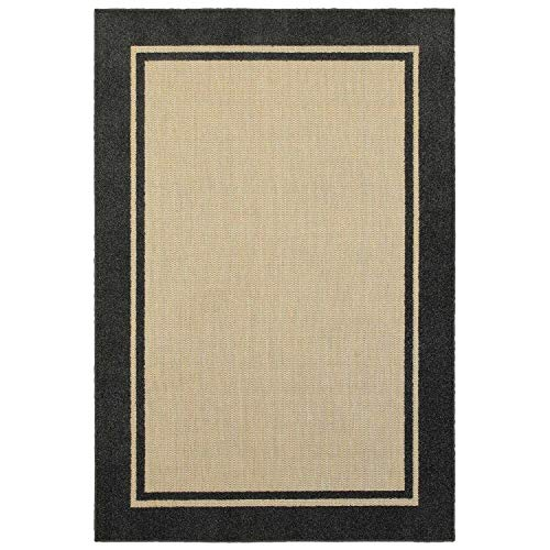 "Mixed Pile Borders Sand/Charcoal Indoor Outdoor Area Rug 3'10"" X 5'5"" Ivory Border Modern Contemporary Rectangle Polypropylene Contains Latex Stain"