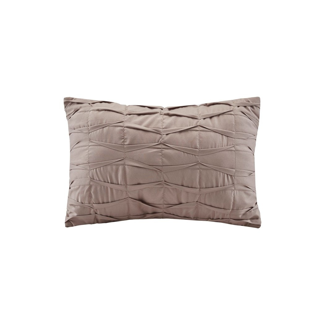 Solid Pinch Pleated Pattern Comforter Decorative Pillow King Set Master Bedrooms Elega Luxurious Ruched Texture Design