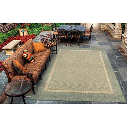 "Natural Green Indoor/Outdoor Area Rug 5'10"" X 9'2"" Beige Green Border Solid Casual Transitional Rectangle Polypropylene Synthetic Contains Latex"