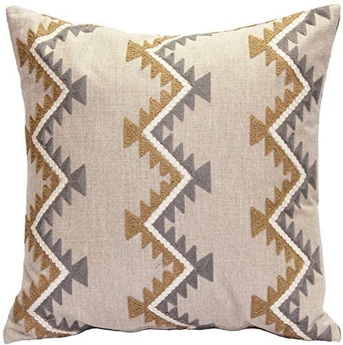 Ranch Embroidered Throw 20x20 Brown Chevron Stripe Modern Contemporary Cotton Polyester One Removable Cover