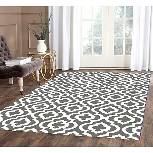 Mirror Gray/White Area Rug 4 Ft by 5 4' X 5' Grey Trellis Modern Contemporary Rectangle Polypropylene Latex Free
