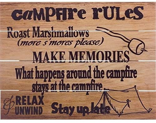 Wood Pallet Art Campfire Rules Cabin Lodge Rustic Birchwood Handmade