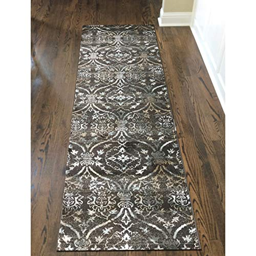 "MISC Area Rug 2'2"" X 7'7"" Runner Brown Abstract Casual Patterned Polypropylene Contains Latex"