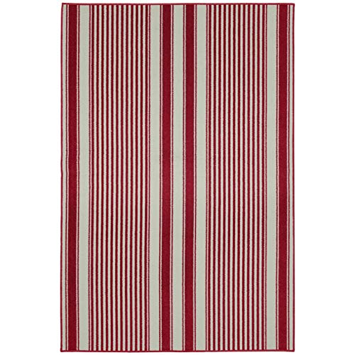 MISC Cod Chili Red Living Room Area Rug 6' X 8' Stripe Traditional Rectangle Polypropylene Contains Latex Non Slip