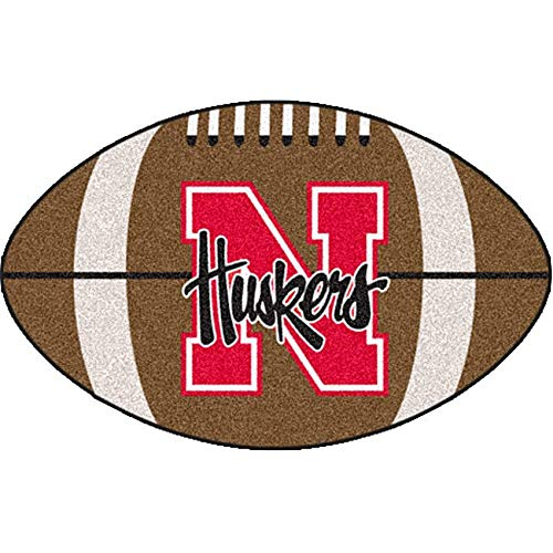 "22""x35"" NCAA Cornhuskers Mat Sports Football Shaped Rug Team Logo Printed Area Rug Floor Carpet Bedroom Bath Living Room Mats Boys Collegiate Team"