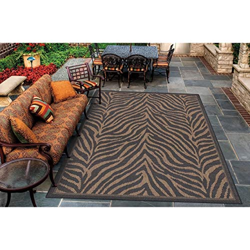 "Black Cocoa Indoor/Outdoor Area Rug 5'3"" X 7'6"" Black Brown Animal Casual Transitional Rectangle Polypropylene Synthetic Contains Latex"