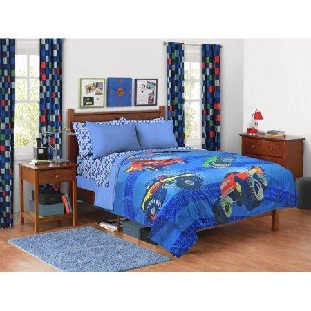 Kids Monster Truck Comforter Twin/Full Size Features Fun Themed Multicolored Trucks Blue Background Playful Monster Truck Bedding