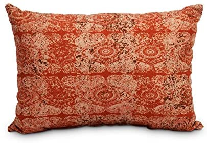 14 X 20 Inch Orange/Rust Decorative Abstract Outdoor Throw Pillow Orange Transitional Polyester