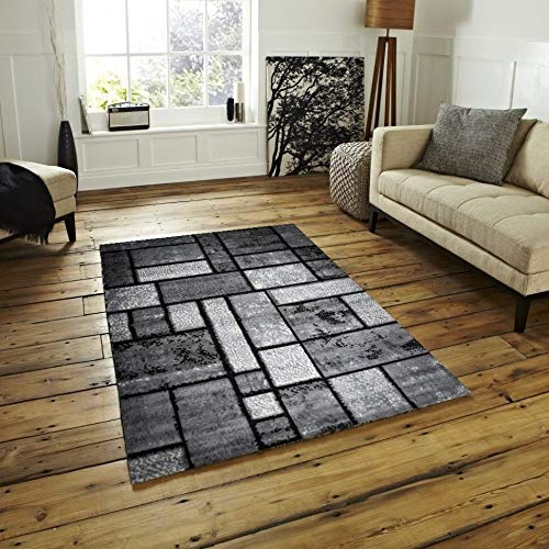 Dusty Brick Gray Black Area Rug 4 Ft by 5 4' X 5' Black Grey Geometric Modern Contemporary Nautical Coastal Rectangle Polypropylene Latex Free