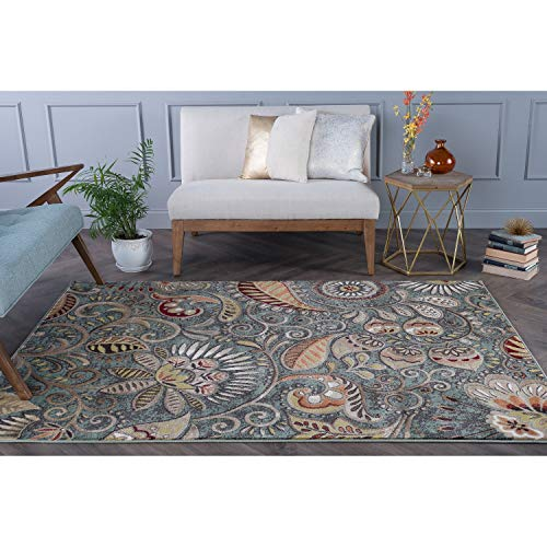 MISC Contemporary Abstract Area Rug 3'11 X 5'3 Green Paisley Bohemian Eclectic French Country Shabby Chic Jute Polypropylene Latex Free Pet Friendly