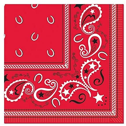 2 ply Western Theme Bandana Napkins 12 Pack (16/pkg) Black Red White Modern Contemporary Square Organic