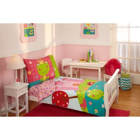 TL 4 Piece Kids Girls Pink White Fairy Tale Toddler Bed Set Green Teal Fairytale Bedding Motif Floral Comforter Prince Princess Frog Pattern Sheets