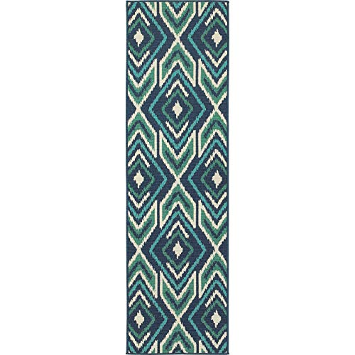 "Ikat Diamonds Navy/Green Indoor Outdoor Rug (2'3 X 7'6) 2'3"" X 7'6"" Runner Blue Geometric Global Transitional Rectangle Polypropylene Contains Latex"
