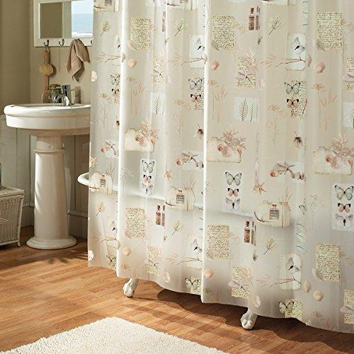 Girls Ivory Nature Themed Shower Curtain Romantic Floral Butterfly Printed Modern Elegant Design Muted Off White Background Luxurious Look Plastic