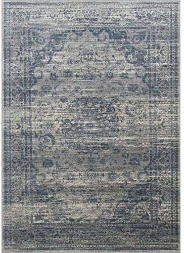 "Rugs Distressed Grey Ivory Rectangular Accent Area Rug Steel Blue Persian Design 4' 11"" X 7' 0"" Medallion Rectangle Polypropylene Contains Latex Stain"