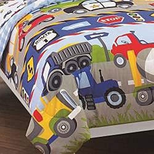Trucks Tractors Twin Size 5 Piece Bed Bag Sheet Set Patterned Polyester Filled Cars Design Printed Fabric Plain Weave 10 inch Pocket Depth