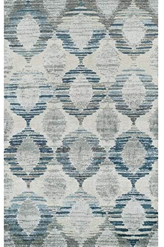 "Trellis Blue/Gray/Ivory Area Rug (3'3""x5'3"") Blue Stripe Mid Century Modern Contemporary Polypropylene Contains Latex Stain Resistant"