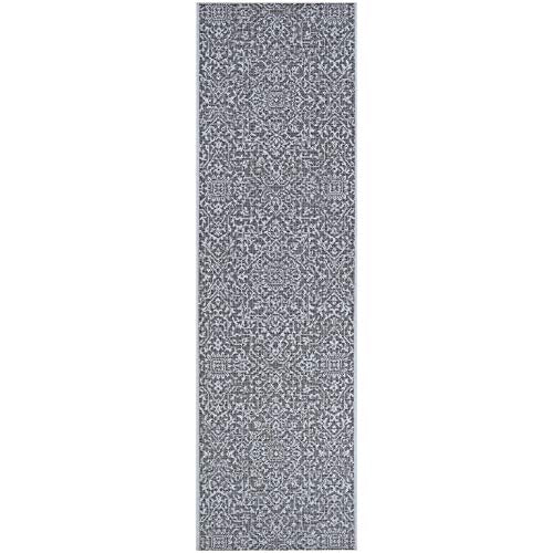 "Medallion Black Gray Indoor/Outdoor Runner Rug 2'3"" X 7'10"" Black Grey Floral Botanical Casual Rectangle Polypropylene Contains Latex"