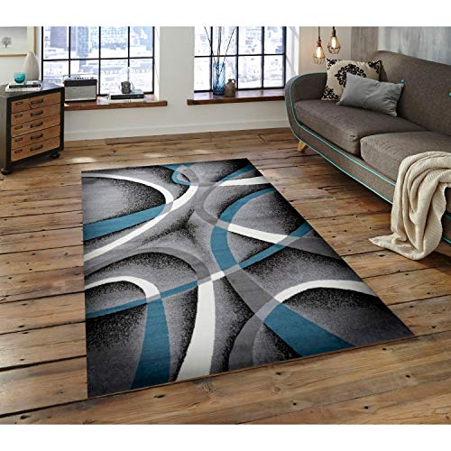 Gray Blue Door Mat 2 Ft by 3 2' X 3' Blue Grey Abstract Novelty Modern Contemporary Nautical Coastal Rectangle Polypropylene Latex Free