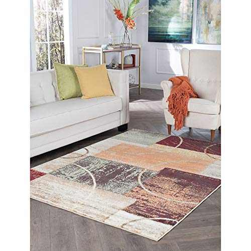 Contemporary Abstract Area Rug 5'3 X 7'3 Color Block Graphic Mission Craftsman Modern Rustic Rectangle Jute Polypropylene Latex Free