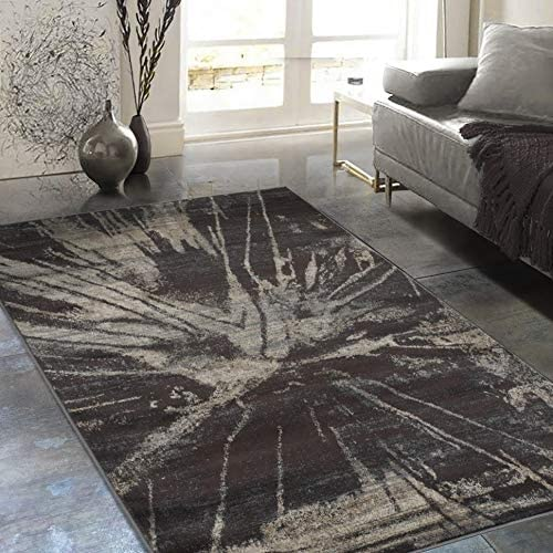 Rugs Distressed Espresso Black Rectangular Accent Area Rug Beige Abstract Design 4' 11
