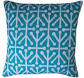 "Handmade Connect Teal Geometric Pillow 20"" X Blue White Polyester"