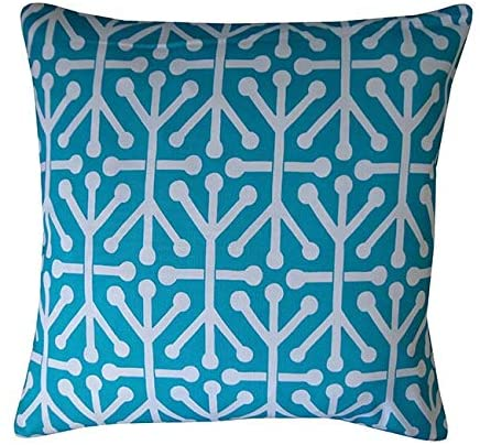 Handmade Connect Teal Geometric Pillow 20
