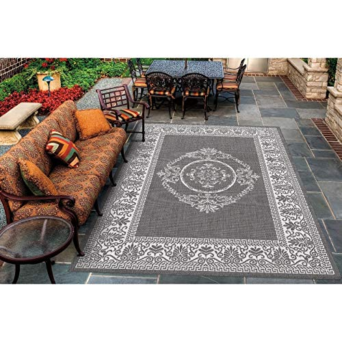 "Emblem Grey White Indoor/Outdoor Area Rug 5'10"" X 9'2"" Grey White Floral Botanical Medallion Casual Transitional Rectangle Polypropylene Synthetic"