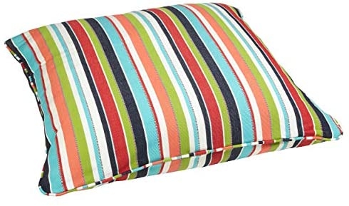 Multicolor Stripe 26 inch Square Indoor/Outdoor Floor Pillow Fabric Color Striped Traditional Transitional Fade Resistant Uv Water