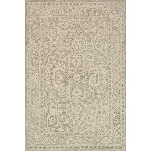 "Hand Hooked Opal Stone Rug (3'6 X 5'6) 3'6"" 5'6"" Grey Border Oriental Transitional Rectangle Wool Contains Latex Handmade"