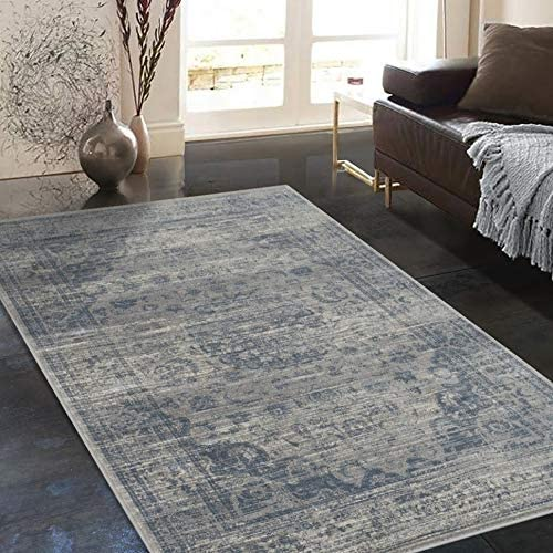 Rugs Distressed Grey Ivory Rectangular Accent Area Rug Steel Blue Persian Design 4' 11