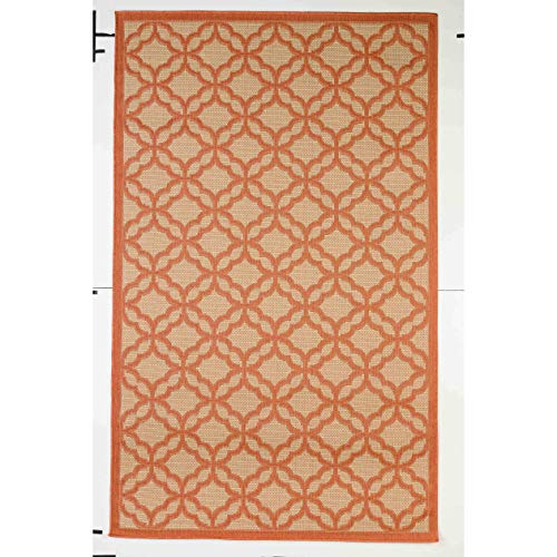 Flatweave Patio Camp Picnic Indoor/Outdoor Rug 9 Ft by 12 9' X 12' Orange Geometric Trellis Modern Contemporary Rectangle Polyester Latex Free