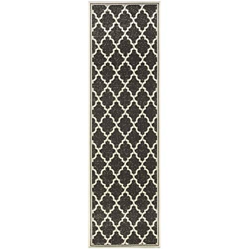 "Black Indoor/Outdoor Runner Rug 2'3"" X 7'10"" Ivory Geometric Trellis Casual Rectangle Polypropylene Contains Latex Pet Friendly Stain Resistant"