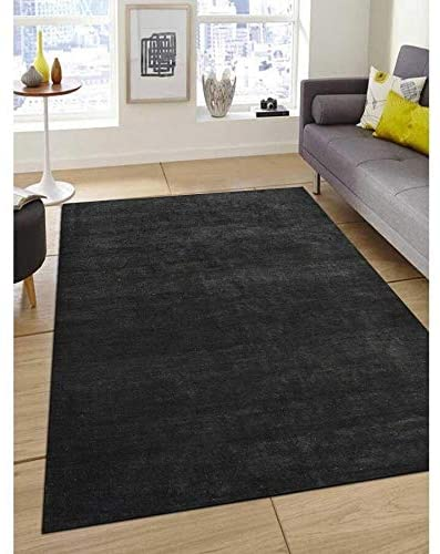 Hand Knotted Silk Solid Area Rug 3' X 5' Grey Modern Contemporary Latex Free