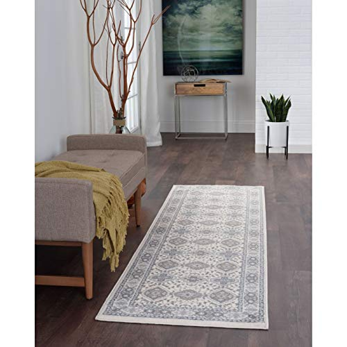 Traditional Oriental Runner Rug 2'3 X 10' Ivory Border Diamond Global Jute Polypropylene Latex Free Pet Friendly Stain Resistant