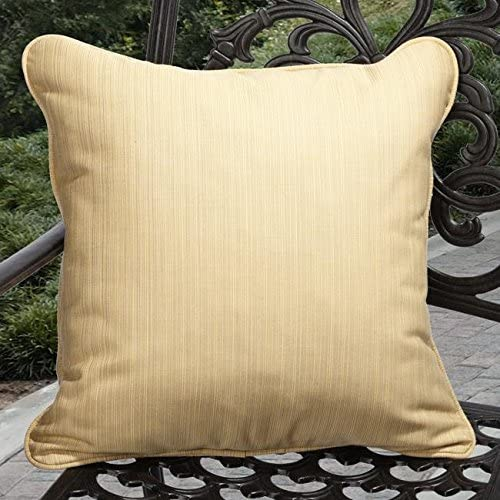 Indoor/Outdoor Textured Yellow Acrylic Pillows Made (Set 2) Solid Traditional Transitional Fade Resistant Uv Water