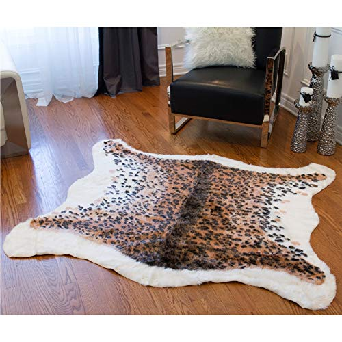 "Leopard Faux Cowhide Area Rug 4'3"" X 5' Brown Animal Modern Contemporary Novelty Acrylic Synthetic Latex Free"