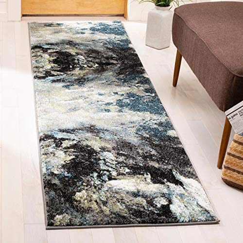 "Glamour Modern Contemporary Blue/ Rug 2'3"" X 10' Runner Blue Abstract Transitional Rectangle Polypropylene Contains Latex"