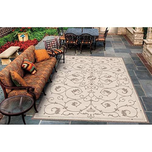 "Natural Cocoa Indoor/Outdoor Area Rug 3'9"" X 5'5"" Beige Brown Floral Botanical Scroll Casual Transitional Rectangle Polypropylene Synthetic Contains"