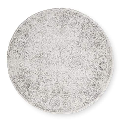 "Distressed Circular Rug 4'0"" Indoor Neutral Ivory Silver Oriental Pattern Round Carpet Weathered Look Trendy Vintage Area Rug Accent Mat Cream"